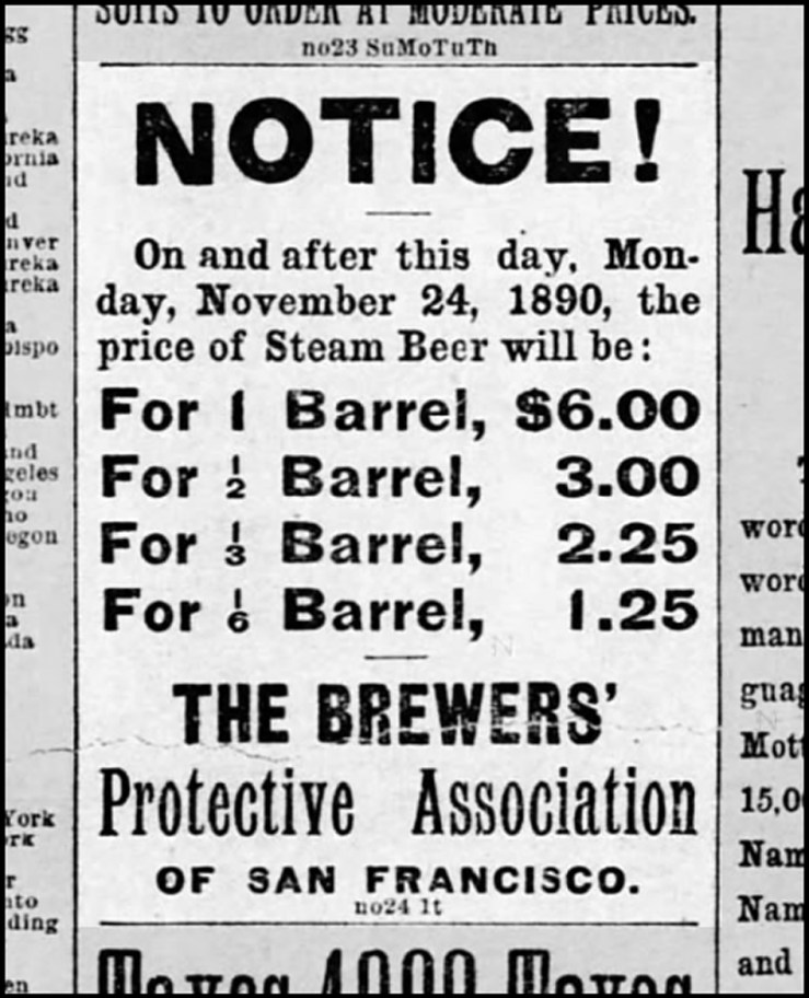 The Brewers' Protection Racket sets prices. SF Call, 24 Nov 1890.
