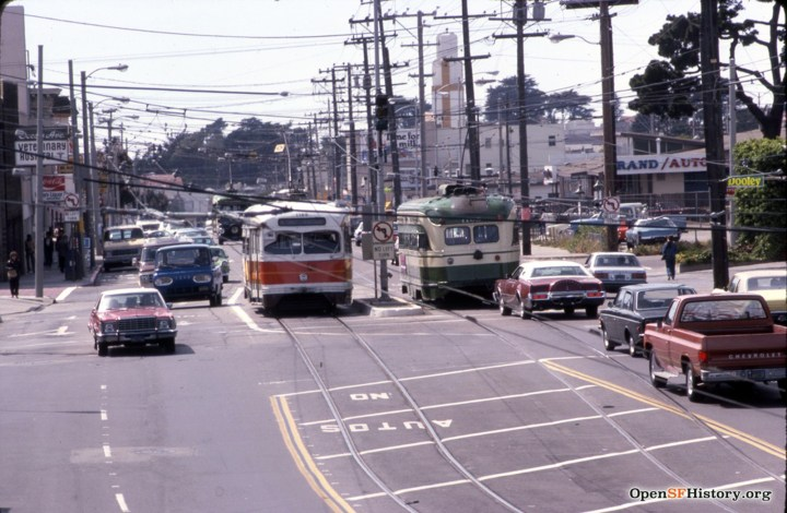 1980. View west from pedestrian overpass, Ocena Ave and Frida Kahlo Way. Photo: William J Madden OpenSFHistory.org