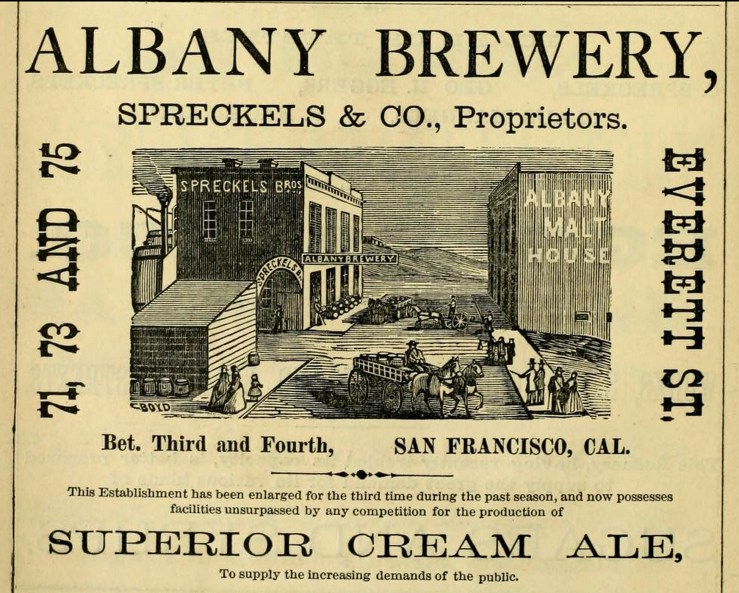 Ad for Albany Brewery, SF Directory, 1874. From Archive.org
