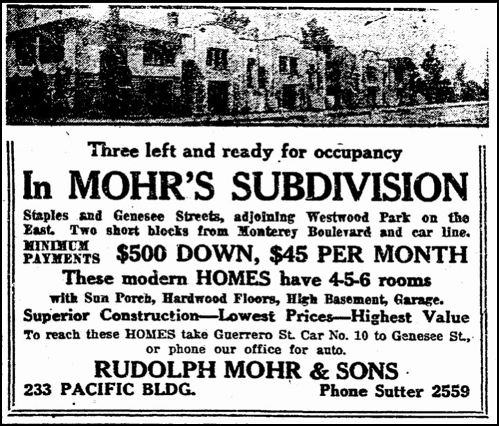 Above: Advertisement for homes newly built by Rudolph Mohr and Sons, on Staples and Gennessee. San Francisco Chronicle, 14 May 1921. From Newsbank.com.