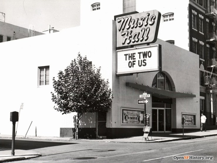 1968. Photo of The Music Hall Theater, 931 Larkin Street, San Francisco. OpenSFHistory.org.