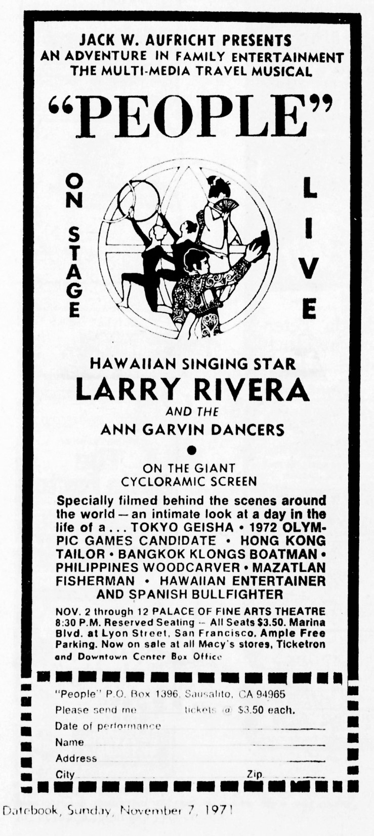 SF Examiner 7 Nov 1971. The Garvin Dancers in the Club Universe Show now called