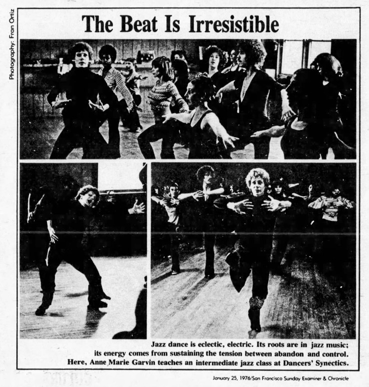 SF Examiner, 25 Jan 1976. Photos of Garvin at the Monterey Blvd studio teaching jazz classes. Photo: Fran Ortiz. Newspapers.com.