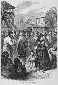1876. Etching of street scene, Demerrara, British Guiana. From inmotionAAME.org.