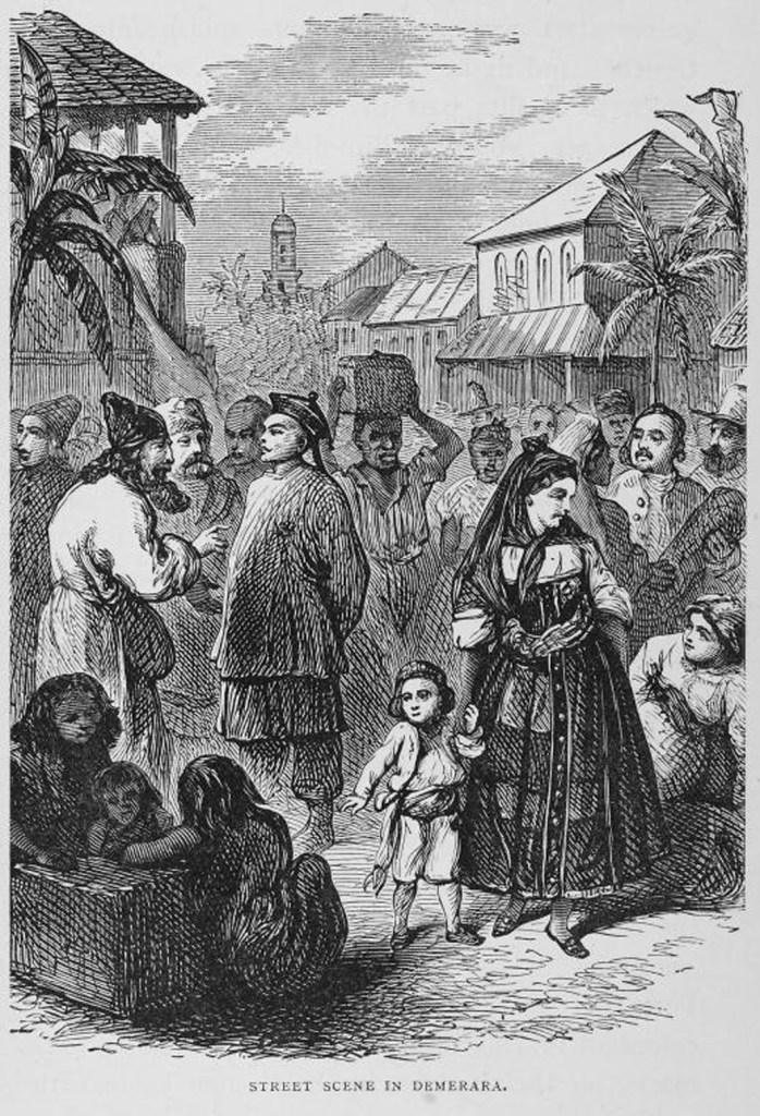 1876. Etching of street scene, Demerrara, British Guiana. From inmotionAAME.org.