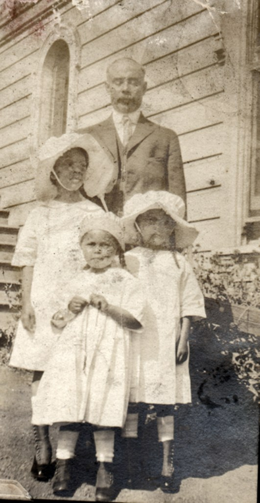 Easter 1919. Bertram Tyrrel with his granddaughters Frances Hinds, Marian Hinds, and Eleanor Hinds. Courtesy Charles Reid/Ivy Reid Collection.