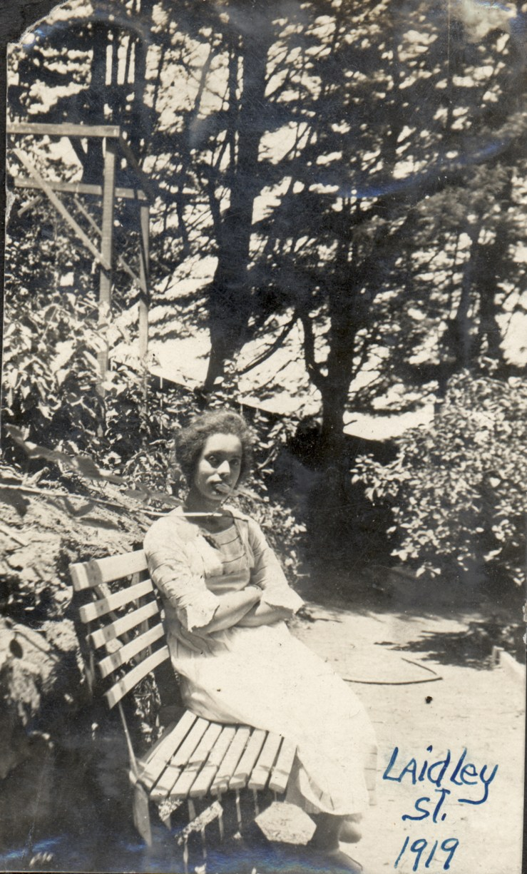 1919. Irma Tyrrel in the garden behind the Laidley Street house. Courtesy Charles Reid/Ivy Reid Collection.