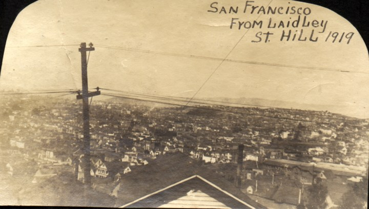1919. The view of San Francisco from the Laidley Street house during the time the Tyrrels lived there. Courtesy Charles Reid/Ivy Reid Collection.