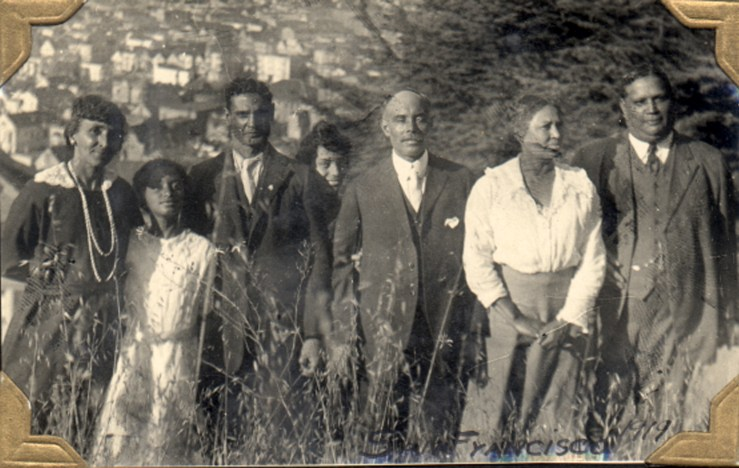 1919. Group photo in front of Laidley Street house. (L to R) Harriet Cady Lake, Marjorie Lake, Horatio Cady, Irma Tyrrel, Bertram Tyrrel, Frances Cady Tyrrel, and Malvern Lake. Courtesy Charles Reid/Ivy Reid Collection.