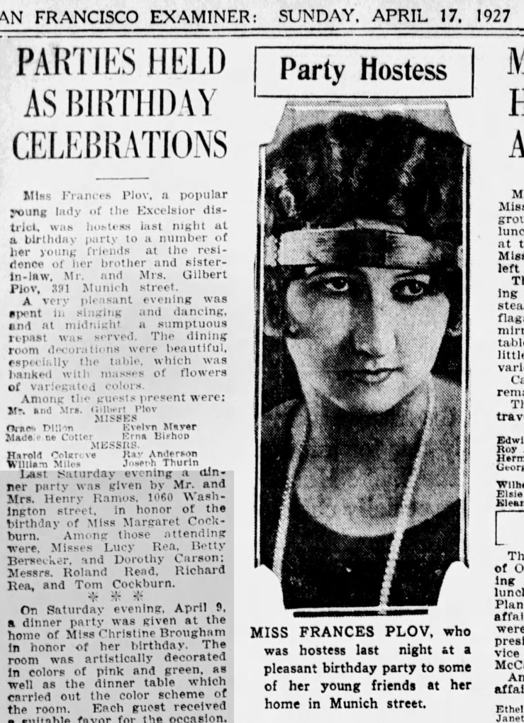 Party time. SF Examiner, 17 Apr 1927. Newspapers.com