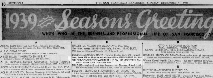 SF Examiner, 31 Dec 1939.