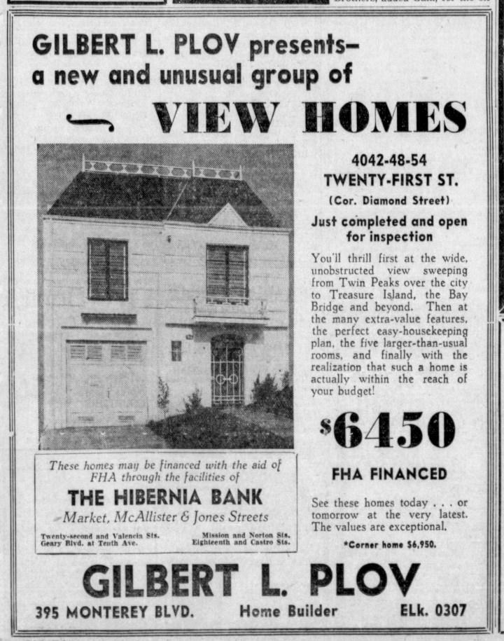 Ad, SF Examiner, 14 Feb 1940. Newspapers.com