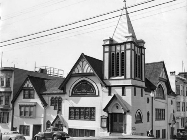 1946. Third Baptist Church at Hyde and Clay, built 1909. San Francisco History Center, San Francisco Public Library.