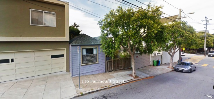 2019. Cottage at 116 Fairmount Street, San Francisco. Where Irma and Charlie Reid lived 1921-1923. Google streetview.