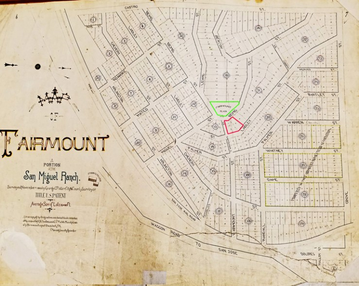 Fairmount homestead map, 1864. North is on right side, Poole-Bell property in red. Railroad ran along curved lower border. San Francisco History Center. San Francisco Public Library.