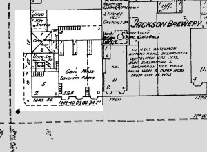 1889 Sanborn map. Premises of Joost Brothers Hardware, corner of Eleventh and Mission. As teetotalers, they probably weren't thrilled to be next to a brewery. ProQuest Digital Sanborn Maps, San Francisco Public Library.