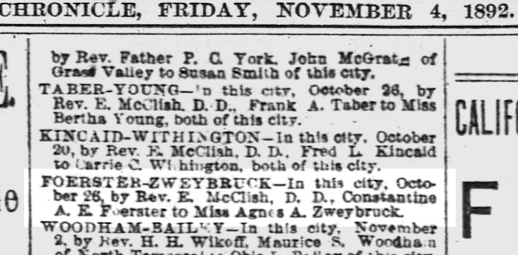 SF Chronicle, 4 Nov 1892. Marriage notice for Stanley and Agnes. SF Public Library.