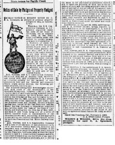 SF Examiner, 14 Feb 1893. Gus Spreckels' public notice that he will sell his $50,000 note at a public auction. Newspapers.com