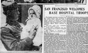 SF Examiner, 7 May 1919. The first child of Roland and Mary Lou Foerster, held by her grandfather Major William A Bryant, just back from wartime duties. She was named for her grandfather Constantine (Stanley) but she did not live past her second year.