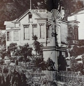 View of the back of the Miller-Joost House, with windmill. Courtesy Joel Pomerantz. Date unknown.