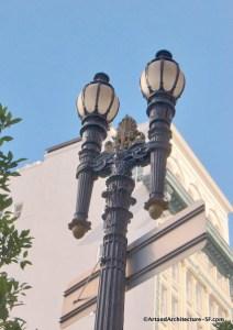 2012. Original Path of Gold light fixture on Market Street, with gold work by Anton Fazekas. Image courtesy https://www.artandarchitecture-SF.com