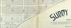 A portion of the Sunnyside homestead map, filed with the city on 1 April 1891. Spreckels and Moulton streets have had their names changed since. View the whole map here. https://sunnysidehistory.org/wp-content/uploads/2019/06/1891-Sunnyside-homestead-map-sm.jpg