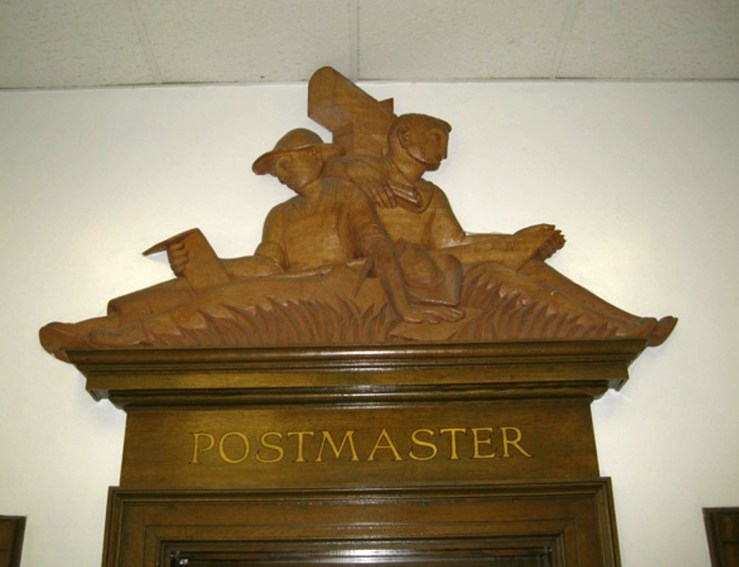 Bas-relief over an interior door at the Livermore Post Office, by Robert Howard.