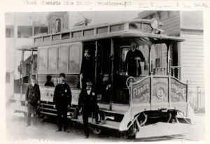 1891c. Car 21 of the San Francisco and San Mateo Electric Railway, which was developed by Behrend Joost simultaneously with district of Sunnyside. San Francisco History Center, San Francisco Public Library.