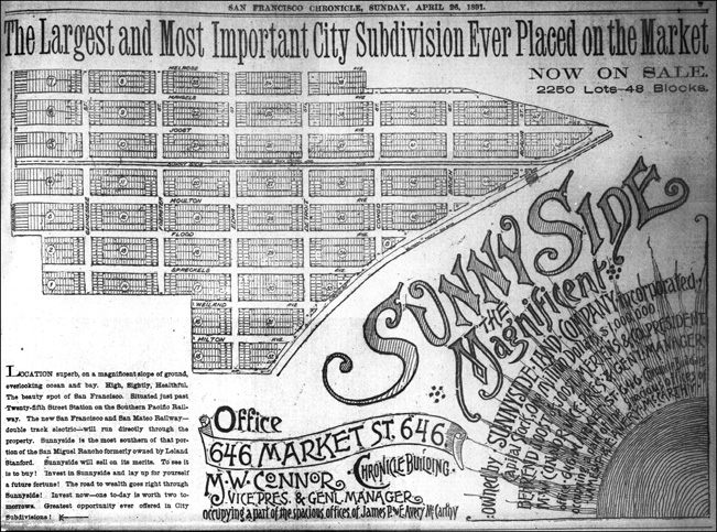 One of big advertisements that launched the district. SF Chronicle, 26 Apr 1891.