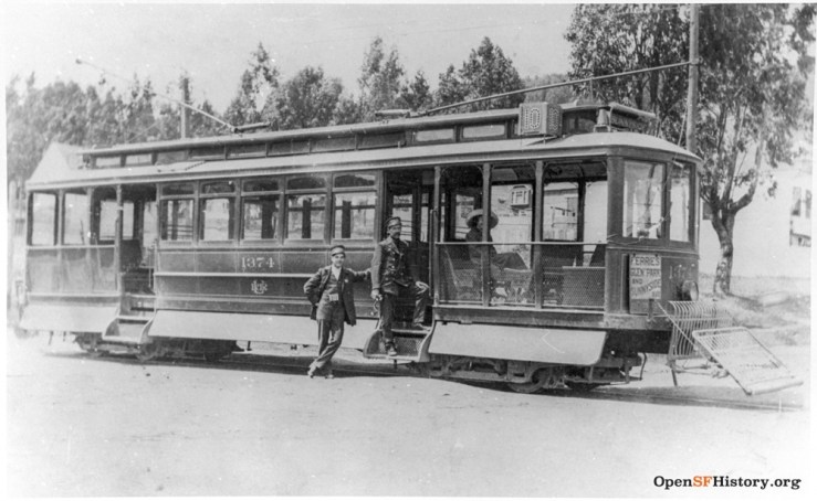 1910c. The electric streetcar at its terminus, Monterey Blvd and Gennessee Street. More about the first electric streetcar in San Francisco. OpenSFHistory,org