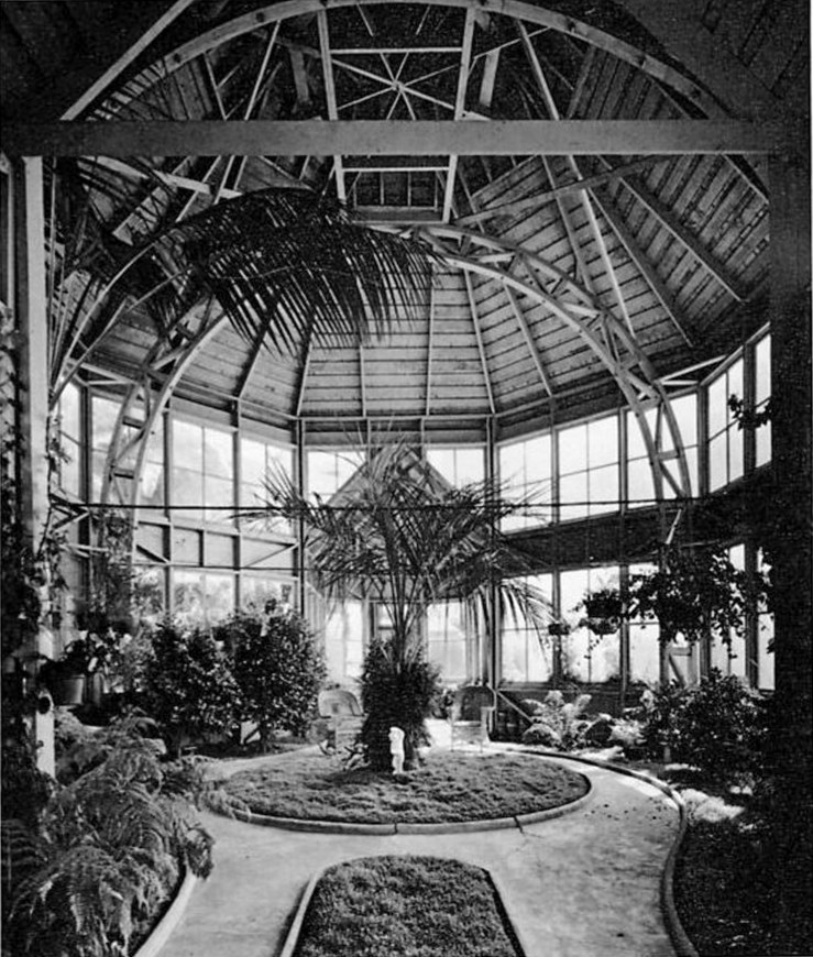 The original interior of the Sunnyside Conservatory. Date unknown. Read more about William Merralls, who built the conservatory in 1902. From Here Today by Roger Olmsted (1968).