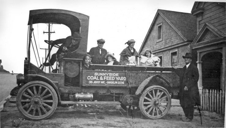 1923. The Williams family in the company truck, at 227 Joost Ave. Courtesy the Williams family.