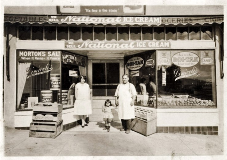 1920s. Frank Dimicelli and family at his long-running grocery at 570 Monterey Blvd.