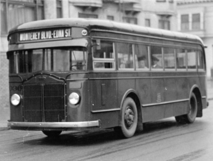1934. Bus No.1, San Francisco's first cross-town bus, which ran from Monterey and Edna to Golden Gate Park. Read more here. San Francisco History Center. San Francisco Public Library.