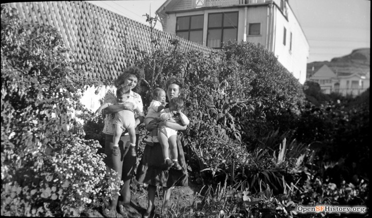 1948c. Baby boom for the Strohmaier family, Back yard at 755 Monterey. OpenSFHistory.org