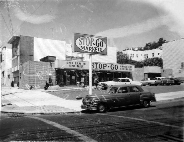 1968c. 600 Monterey Blvd. Stop'n'Go Market, from 1966 to mid1980s. Part of a nationwide chain. Before this the space was unsurprisingly a gas station, 1930-1966. San Francisco Office of Assessor-Recorder Photographs Collection, San Francisco History Center, San Francisco Public Library sfpl.org/sfphotos/asr