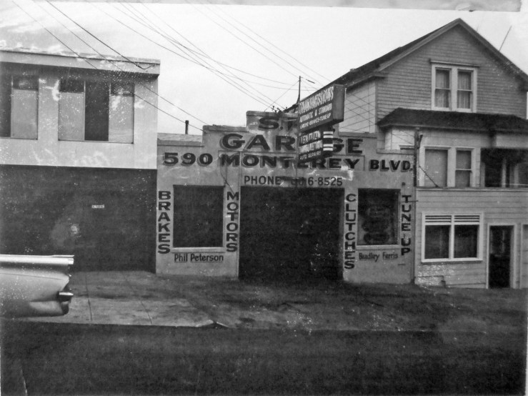 1970c. 590 Monterey Blvd. SFO Garage, operating mid1960s to mid1970s, This space has been a garage continuously since the early 1920s, including a stint as German Car Service in the 1980s and 1990s. San Francisco Office of Assessor-Recorder Photographs Collection, San Francisco History Center, San Francisco Public Library sfpl.org/sfphotos/asr