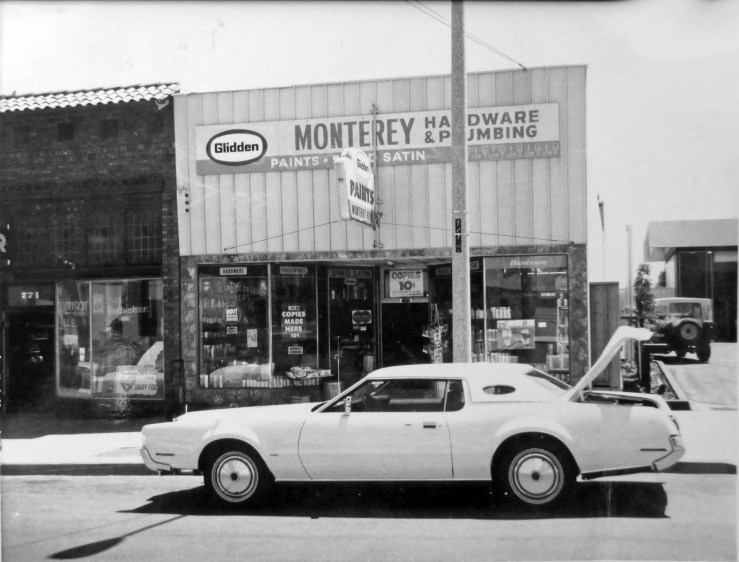 1970c. 775 Monterey Blvd. Monterey Hardware & Plumbing, operating 1960s to about 2000. Prized by locals. Run by the Arsento brothers. Before that, Alex Lind Hardware, 1920s to 1960s. Notice marquee that covers original 1920s clerestory windows (compare 2020 photo). San Francisco Office of Assessor-Recorder Photographs Collection, San Francisco History Center, San Francisco Public Library sfpl.org/sfphotos/asr