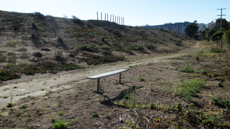 Random bench appeared on lower path. Balboa Reservoir, Oct 2020. Sunnyside History Project. Photo: Amy O'Hair