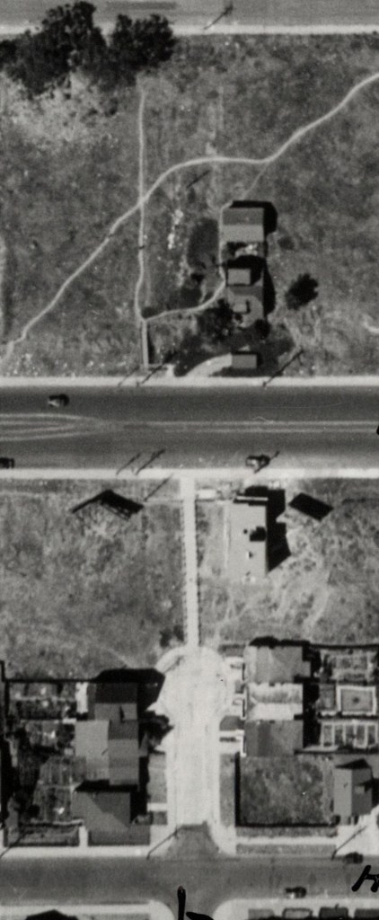 1938 aerial. Monterey Blvd at Detroit. House at SE corner newly built. Concrete Lower Steps recently constructed, but without any landscaping. Lone house at 398 Monterey visible just north of boulevard. DavidRumsey.com