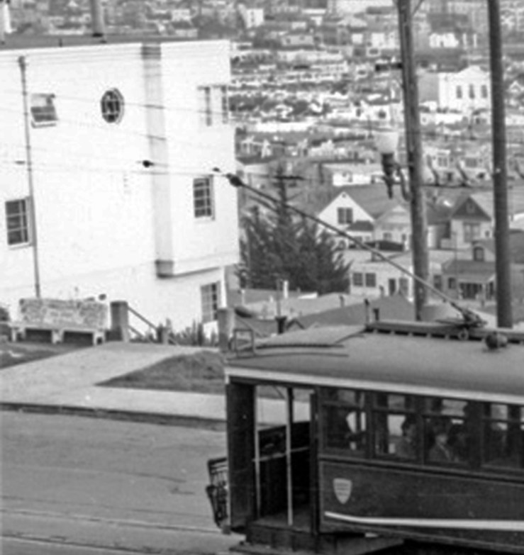 1941c. The top of the Lower Detroit Steps at Monterey. Note public bench. Cropped from wnp27.2647. OpenSFHistory.org