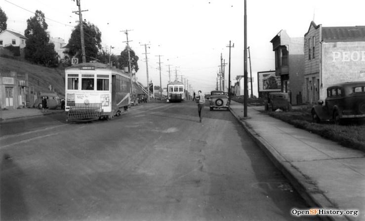 1942. Monterey looking east, toward Detroit. OpenSFHistory.org