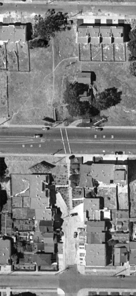 1948 aerial. Monterey Blvd at Detroit. Lots around lower Detroit Steps mostly filled in. Concrete Lower Steps visible, with new plantings around. DavidRumsey.com