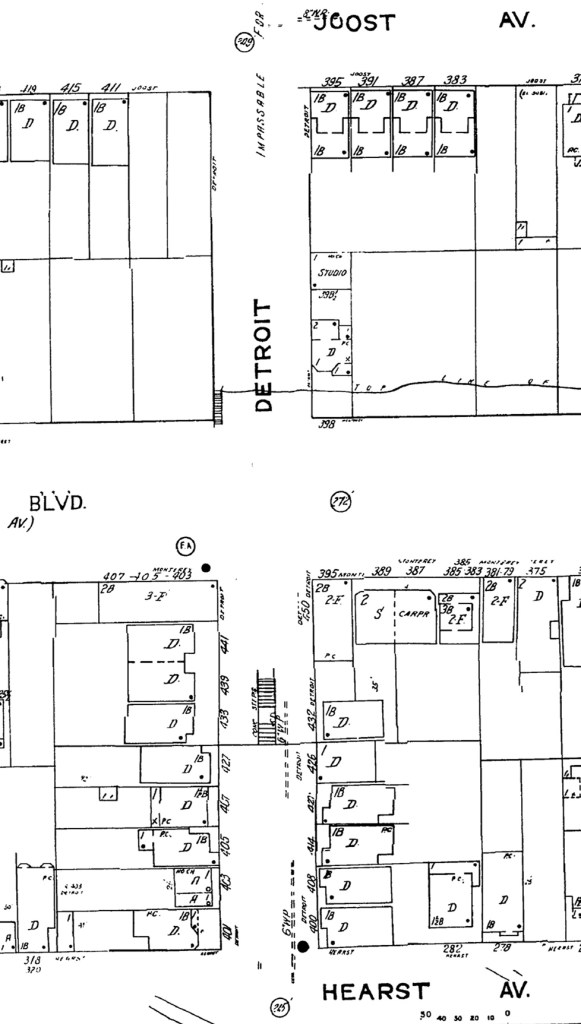 1950 Sanborn map of area around Monterey at Detroit Steps. Sketch of Lower Steps shown on the map now. Lots surrounding Lower Steps mostly filled out. Sheet 917. ProQuest.