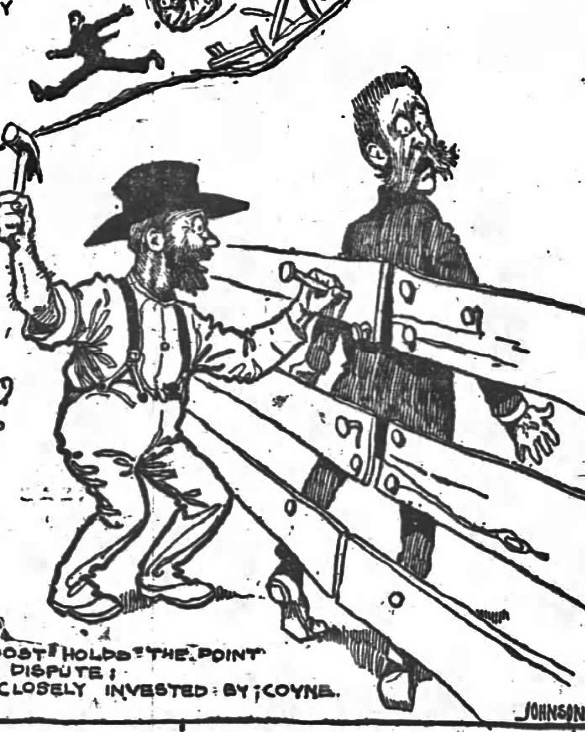 Joost pilloried by the cartoonist of SF Chronicle, 11 Nov 1899.