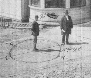 """My calculations regarding the time and day by using Behrend Joost's shadow. He was five foot six in his bowler hat (5' 4 1/2"""" according to the San Francisco Voter Register of 1892.)"""