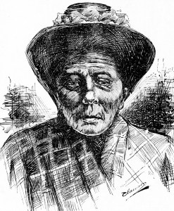 Drawing of Mary Ellen Pleasant by Clawson, SF Call, 10 Oct 1897.