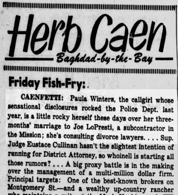 Herb Caen featured the Winters-LoPresti saga. SF Examiner, 4 Feb 1955.