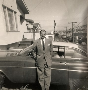 1957c. Joe LoPresti with one of his many cars at one of his many houses. Photo courtesy Diane LoPresti Christensen.