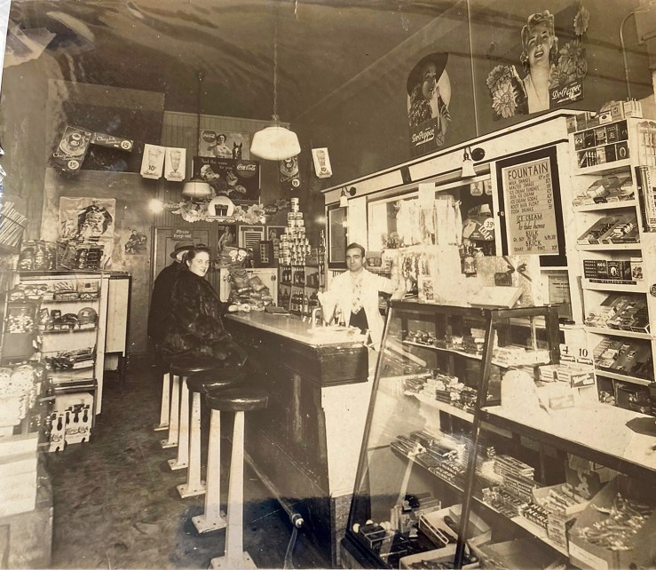 Interior, Bruno's Creamery, about 1940, shortly after he took over the shop. Bruno Cappa is on the right, and Eva is seated at the counter. Photo courtesy Marilyn Cappa Kennedy.